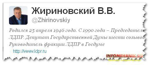 СЕО для Твиттера: Пример профиля Жириновского